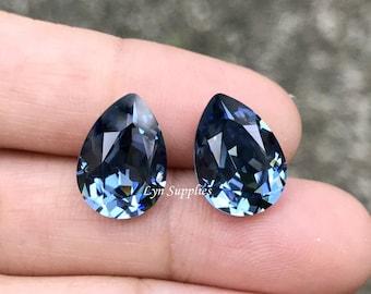 4320 DENIM BLUE 14x10mm Swarovski Crystal Pear Teardrops 2pcs or 10pcs, Navy Blue Dark Blue