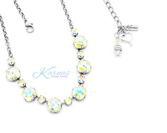 FOLLOW YOUR RAINBOW 6mm/12mm Cushion Cut Necklace Made With Swarovski Crystal *Pick Your Finish *Karnas Design Studio *Free Shipping