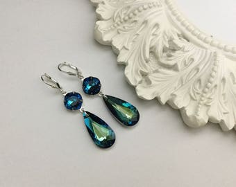 Swarovski Drop Earrings (Bermuda Blue)