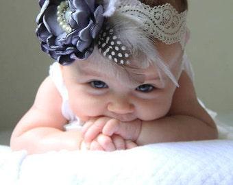 Deep Blue Flower Headband