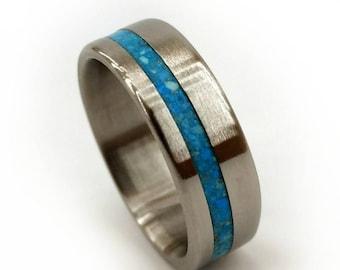 Titanium Turquoise Ring, Crushed Gemstone Ring, Turquoise Ring, Titanium Ring, Women's Ring, Women's Band, Men's Ring, Blue Ring, Geology
