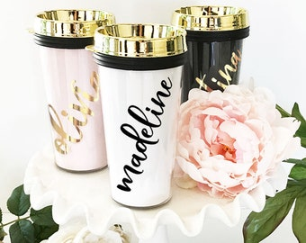 Travel Mug Personalized Travel Tumblers Travel Gifts for Women Custom Travel Mugs for Women Travel Coffee Mug Personalized (EB3226P)