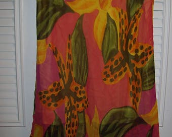 Skirt 6 - 8, Silk Skirt, Tiger Lily , Wisp of a Skirt , Vintage Gorgeous Skirt, see details
