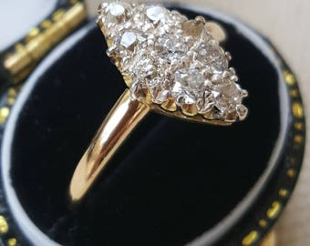 Antique Marquise Shape Diamond Ring - Pave Set - 0.50ct