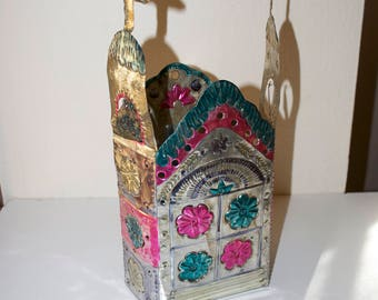 Mexican Metal Punched Tin  Candle Holder