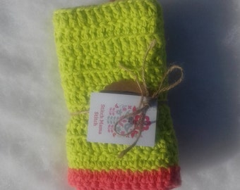 Cotton Cloth - Lime Green with Coral Edging -  Croceheted Cloth - Baby Cloth - Wash Cloth - Spa Cloth - Dish Cloth - Ready to Ship