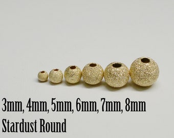 14K Gold Filled Stardust Round Bead, USA, Seamless, 3mm to 8mm