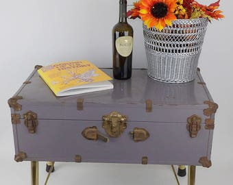 Coffee Table Trunk Military Army Footlocker Cabinet Storage Rustic Gold  Legs Hairpin Industrial Lavender Gray Purple