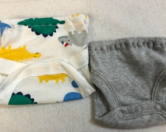 Baby Doll Diaper Covers, Panty, 15 inch AG Bitty Baby Clothes or Twin, Fits 16 inch Cabbage Patch Doll, SET of 2 for 3.00, DINOSAURS & Gray