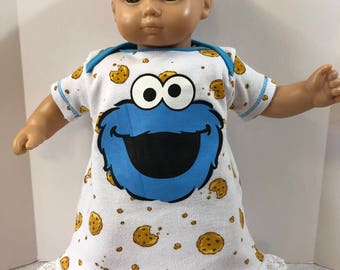 "15 inch Bitty Baby Clothes, Super Cute ""COOKIE MONSTER"" Nightgown, 15 inch AG Doll Bitty Baby or Twin Doll, I Love Sesame Street!"