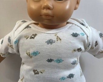 "15 inch Bitty Baby BOY Clothes, Top Only, Adorable ""Baby ZOO ANIMALS"" Top, 15 inch Doll Bitty Baby Boy or Twin Boy, Top Only - 4.00 Dollars"