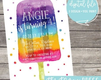 Popsicle Summer Birthday Party Customizable Invitation