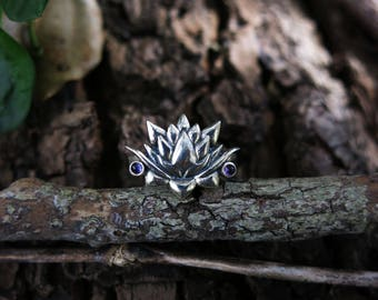 Lotus and Amethyst Sterling Silver Ring