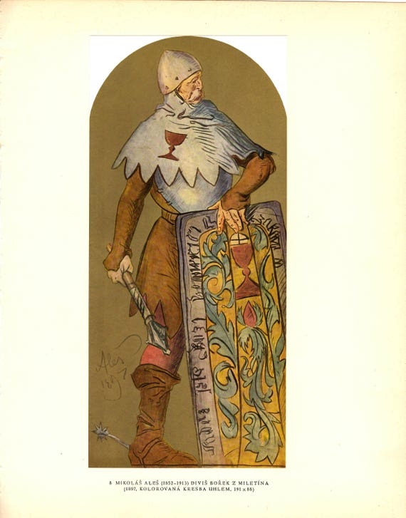 Vintage print of painting of Divis Borek by Mikolas Ales, military leader with large shield, nicely detailed, 11 x 5 inches, published 1954
