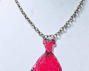 Vintage pink dress necklace. Whimsical statement necklace.
