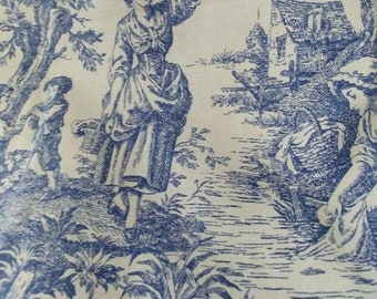 "French Country Toile De Jouy Fabric 1.7 Yards Vintage Blue & White  Heavy Cotton Home Decor, DIY Fashion Crafting -62""Lx56""w 158cm x143cm"