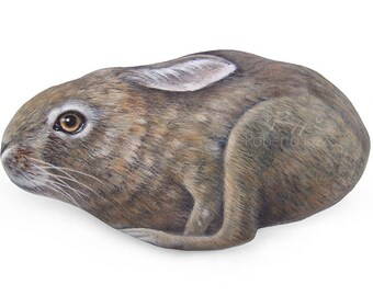 Hand Painted Stone Running Hare | An Incredible Piece of Art forYour Home | Hare Painting | Unique Rock Art by Roberto Rizzo