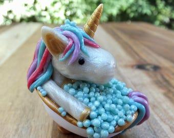 Half-Rainbow Bathing Unicorn Figurine - polymer clay - art - sculpture - bubbles- waves - claw foot bath tub- Ooak.