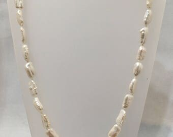 Freshwater biwa pearl necklace