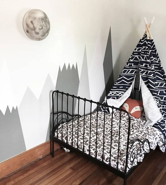 Mountains Wall Decal Nursery Wall Protection Baby Wall Decals Woodland Customized Personalized Washable Headboard Sticker Decor #002