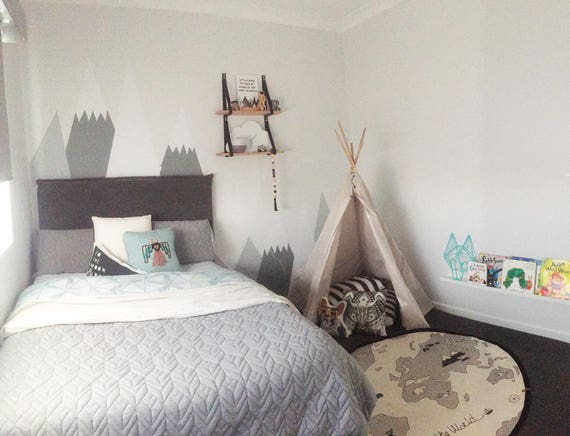 Mountains Wall Decal Entire Wall Protection Nursery Wall Sticker Kids Toddlers Peel andStick Washable Self Adhesive Woodland Headboard Decor