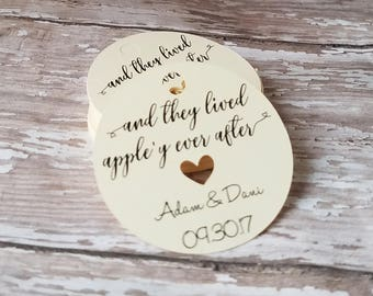 and they lived appley ever after, fall wedding tag, apple favor tag, caramel apple tag, wedding favor, wedding shower, bridal shower (238)