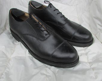 Mens Size 10-10.5 Black Leather Dress Shoes, Capped Toe Dress Shoes, Military Dress Shoes, Lace-Up Shoes, Made in Canada by CANADA WEST