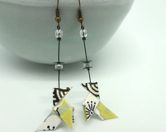 """""Pastel yellow""cocotte"" paper origami earrings Japanese washi"