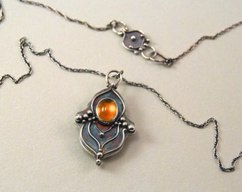Citrine Sun.  Sterling silver and citrine cabochon necklace.  Handmade. One of a kind.  Yellow.  Orange.