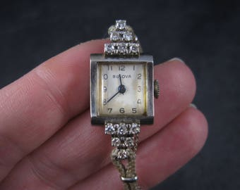 Vintage 14K .76 Carat Diamond Bulova Watch 6 Inches - Works Perfectly