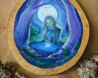 The hydromancer - original oil painting on wood slice - EXPRESS SHIPPING with tracking number. -Optional installment plan