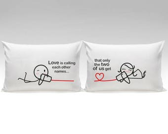 Valentines Day Gift for Girlfriend Boyfriend Gift Valentines Gift Couples Gift 2 Year Anniversary Gift Between You & Me Couples Pillowcases