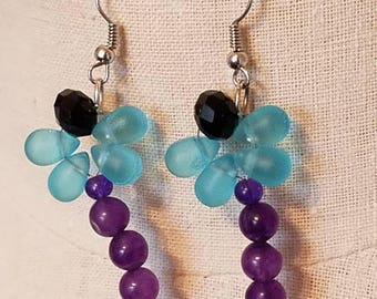 Dragonfly beaded earrings,  amethyst and crystal earrings,  dragonfly jewelry, amethyst earrings, blue earrings, dragonfly amethyst
