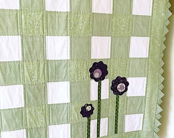 Baby Quilt Pattern PDF 2 Baby Quilt Pattens for 1 Spring Quilt Pattern Babies Girl Quilt Pattern Beginner Quilt Patterns Green and White Qu