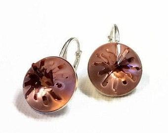 Sea urchin rivoli earrings, Swarovski crystal coctail earrings, Blush rose sterling silver earrings, Bridesmaid, Bridal earrings, Swarovski,