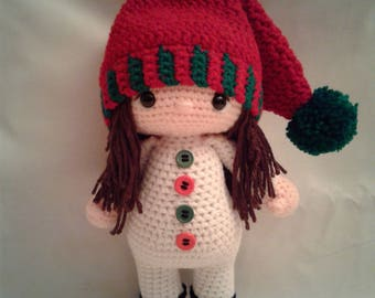 PUCCI the Snow Girl - Crochet Amigurumi Doll - Crochet Girl Doll in Snow Outfit