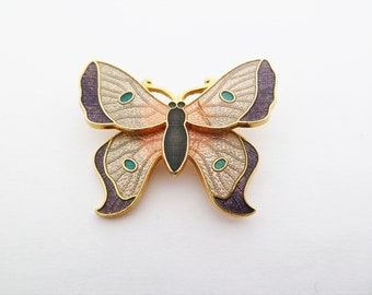 Vintage Cloisonné Dusky PInk and Purple Enamel Dimensional Butterfly Brooch by Fish