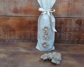 Wine Bag - Linen Wine Bag - Wine Cozy- Wedding Table Decor - Wine Bottle Holder - Wine Sack - Qty 3