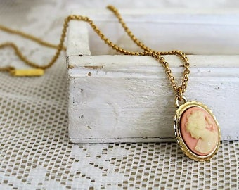 Gold cameo necklace etsy easter gifts victorian cameo necklace gold cameo necklace pink pendant necklace short negle Choice Image