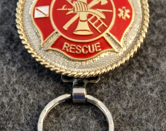 IN STOCK custom handcrafted personalized key chain with Fire Fighter / EMS Emblem