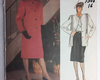 Vogue 1388 Joseph Picone Misses' Loose Fitting, Below Hip Jacket and Slight A-Line Skirt, Size 16 uncut