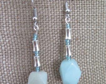 Aqua Stone Drop Earrings