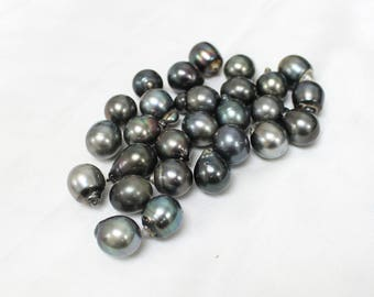 HUGE 14-15mm Tahitian Pearls - Drop, Oval - Gray Silver Green Light Mix - Wholesale
