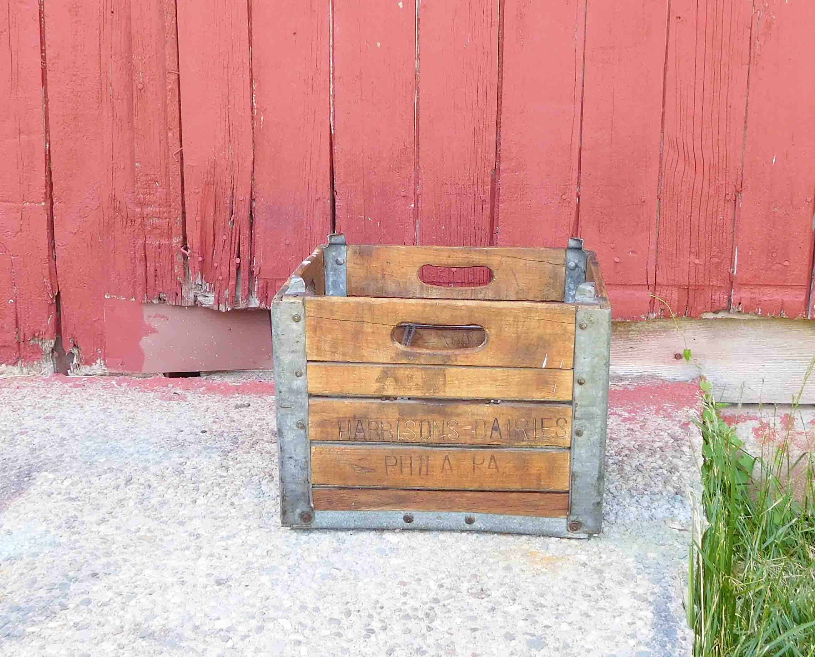 vintage wooden milk crate harbisons dairies philapa with. Black Bedroom Furniture Sets. Home Design Ideas
