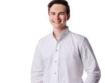 Mens shirt White shirt Ethnic shirt Long Sleeve Men's Dress Shirts mens shirt with Stand-up Collar, Oktoberfest shirt Men's boho shirt