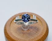 1.09 ct Tanzanite Engagement Ring in Sterling Silver / Solitaire December Natural Blue Gemstone Ring / De Luna Gems / Free Shipping!