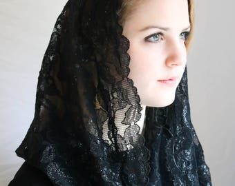 Evintage Veils~ Elegant Soft Our Lady of Consolation Black Glitter  Lace Chapel Veil Mantilla Infinity Latin Mass BLACK