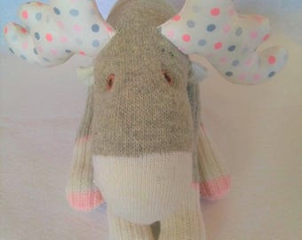 Sock Moose - Soft Toy- Stuffed Moose - Work Sock  - Polka Dots - Nursery Decor - Handmade - One of a Kind - Toddler Toy - Baby Toy