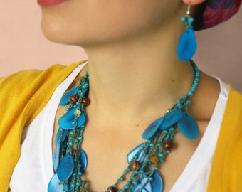 Blue Chunky Necklace, Blue Statement Necklace, Blue Tagua Necklace, Blue turquoise seeds necklace