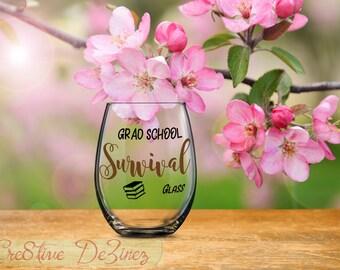 Survival Glass, Grad School Survival Glass, Funny Graduate School Glass, Master Student Gift, PhD Gift Idea, Ph. D. Student Gift Survival
